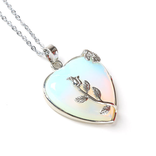 Ever Charmed Leafy Heart Stone Necklace