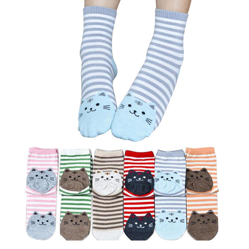 Purrrfectly Charming Striped Kitty Socks Set of 6