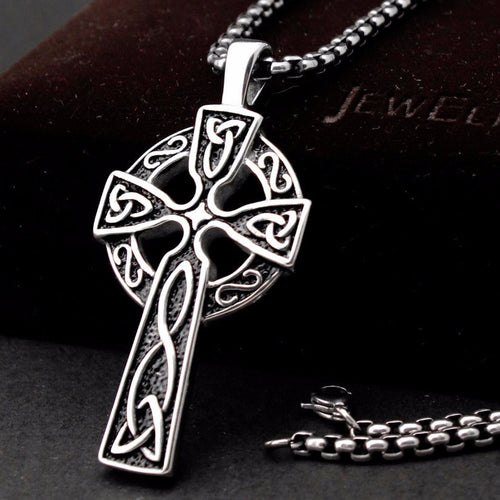 Large 2-Inch Celtic Cross Pendant Necklace in Stainless Steel