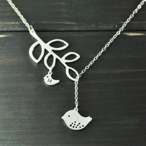 Customizable Mama And Baby Bird Necklace