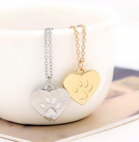 Cute Paw Print Heart Memorial Necklace