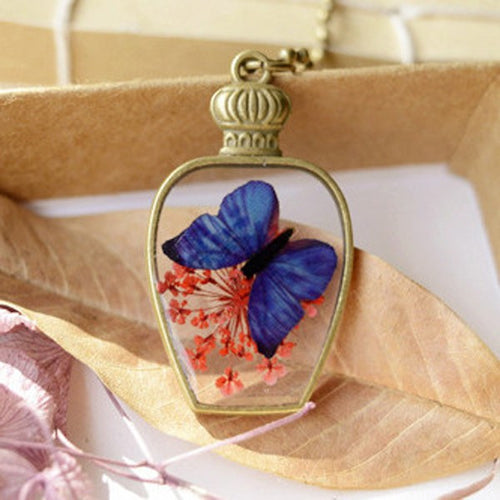 Butterfly Memories Glass Flower Pendant Necklace