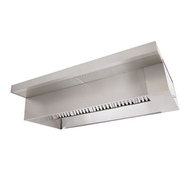 6' Wall Canopy Hood, Fan, Direct Fired Heated Makeup Air Unit System - addinstock