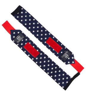 Fitplicity Sports Old Glory Fitplicity Premium Weight Lifting Wrist Wraps - 18 Inch Pair Wrist Supports for Fitness, Powerlifting, Bodybuilding, Weightlifting, Crossfit, Weight Training - with Hook and Loop Grip
