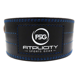 "Fitplicity Sports X-Small (21""-29"" waist size not pant size) / Blue Stitching Fitplicity Genuine Leather Pro Weight Lifting Belt, for Weightlifting, Olympic Lifting, Powerlifting, Squats and Deadlifts, 4 Inch Stabilizing Back Support for Men and Women"