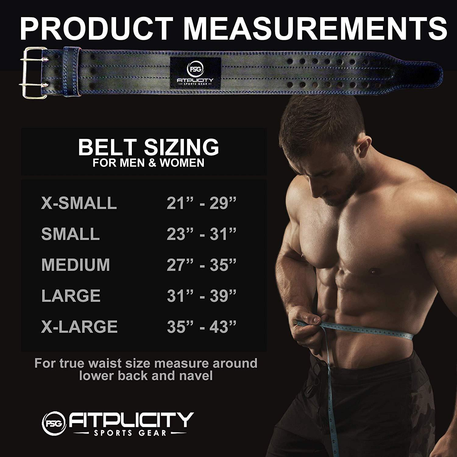 26bd2f718c8d Fitplicity Genuine Leather Pro Weight Lifting Belt for Men and Women