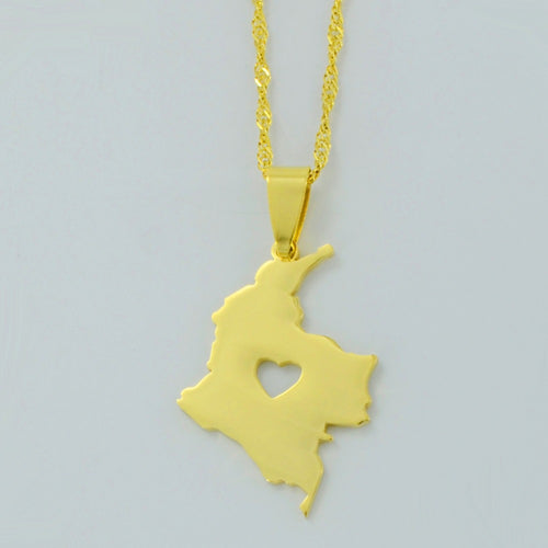 Colombia Map Necklace & charm