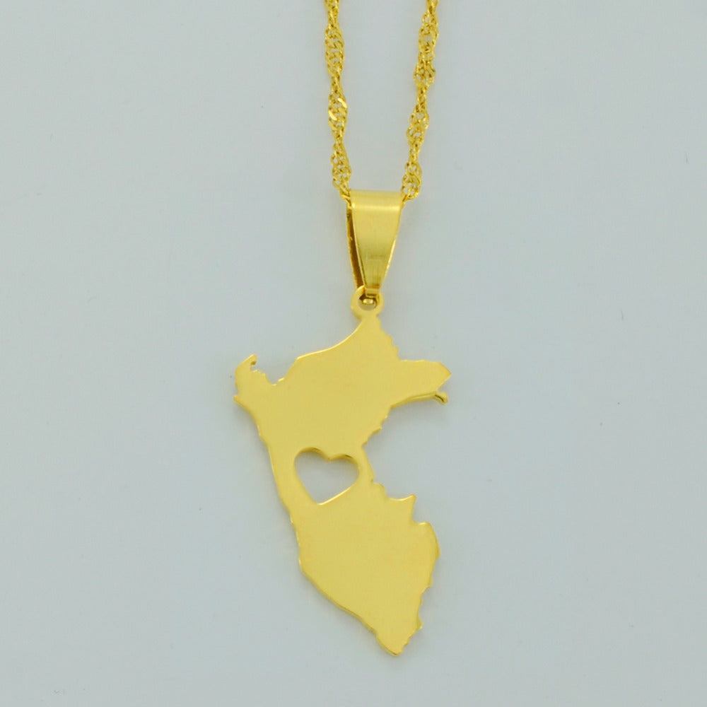 Peru Map Necklaces & charm