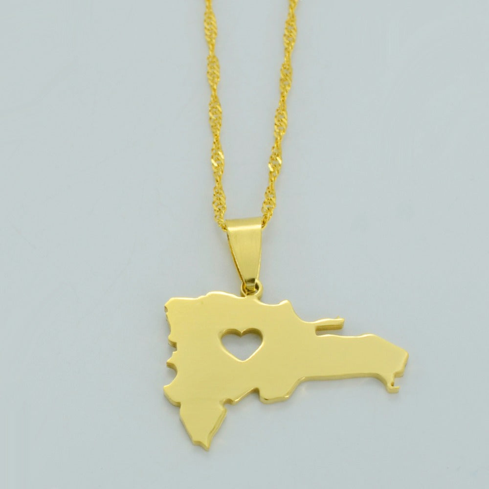 Dominican Republic Map Necklace & charm