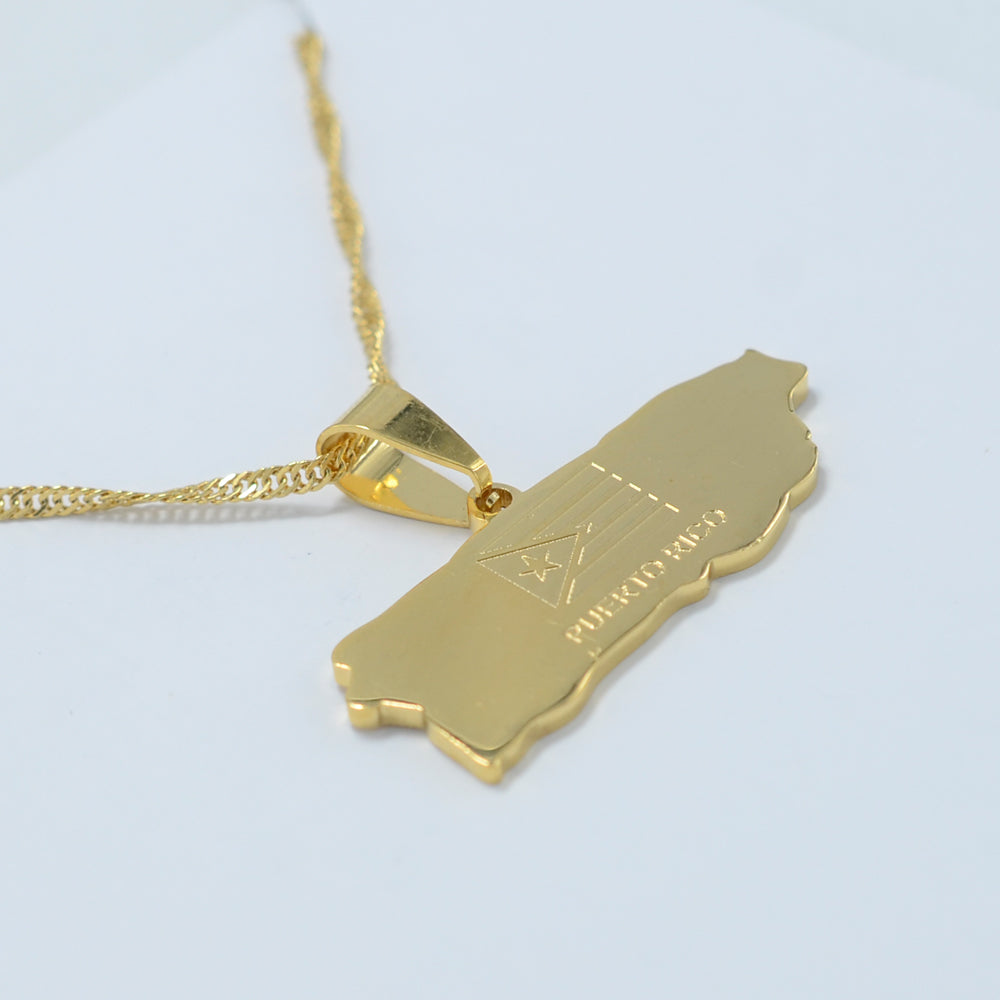 Puerto Rico Map necklace & charm