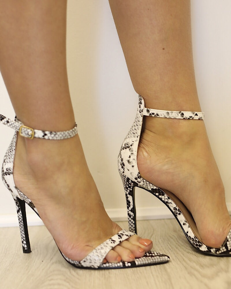 0e04619b351 SILVIE Snakeskin Barely there sandals