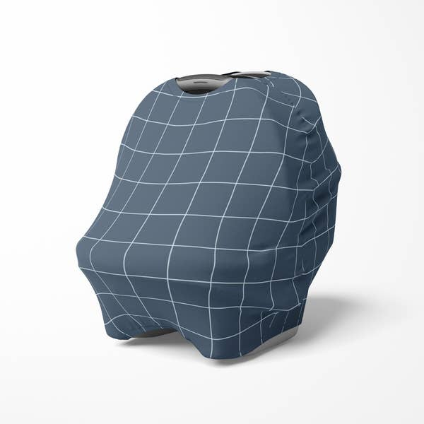Multi use baby cover - Navy Blue Grid