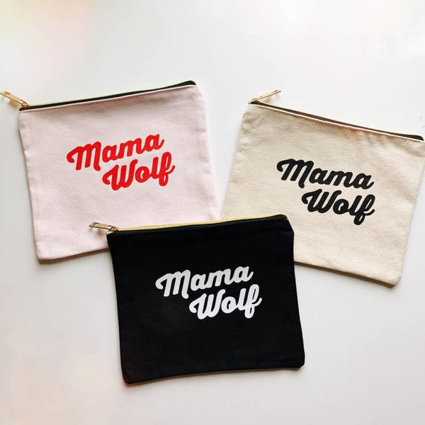 Mama Wolf - Canvas Zipper Pouch