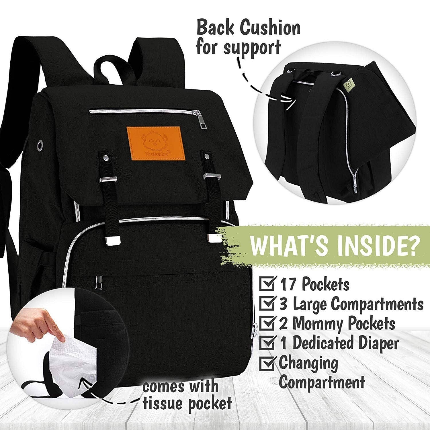 trendy baby clothes Explorer Diaper Backpack (Trendy Black)-The Trendy Bunny-The Trendy Bunny