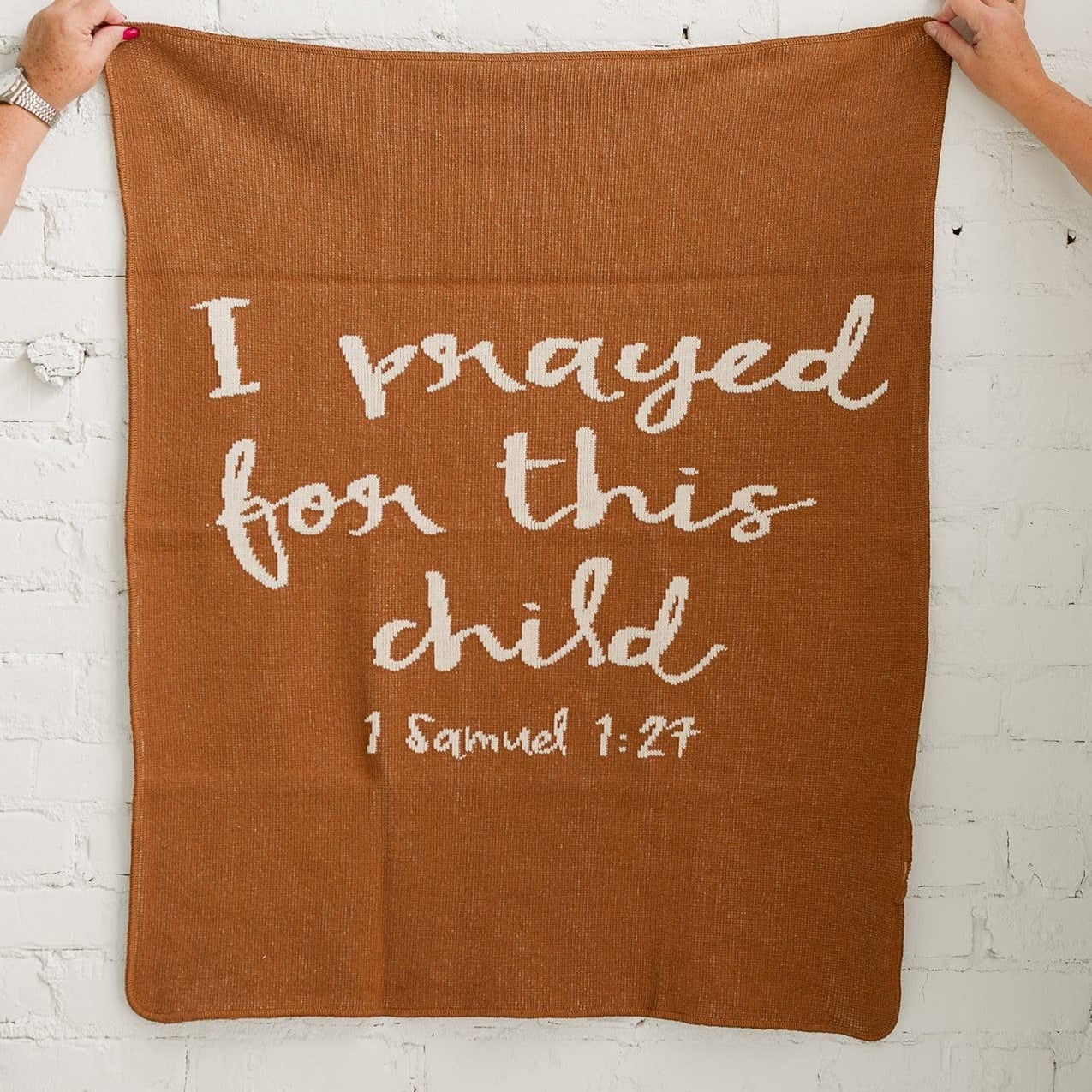 "trendy baby clothes Modern Burlap ""Prayer"" Blanket-The Trendy Bunny-The Trendy Bunny"
