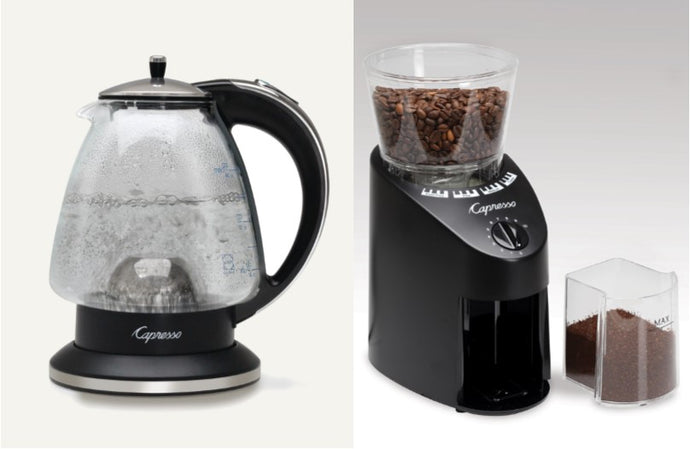 Capresso water kettle & Grinder package
