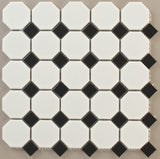 Octagon White + Black Dot Matte 12 x 12