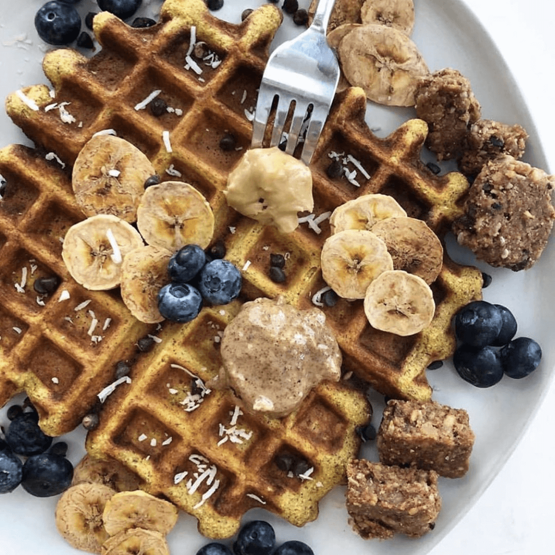 Sweet Cinnamon Carrot Cake Waffles with Honey Almond Butter