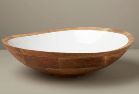 Madras Wood Bowl with White Enamel