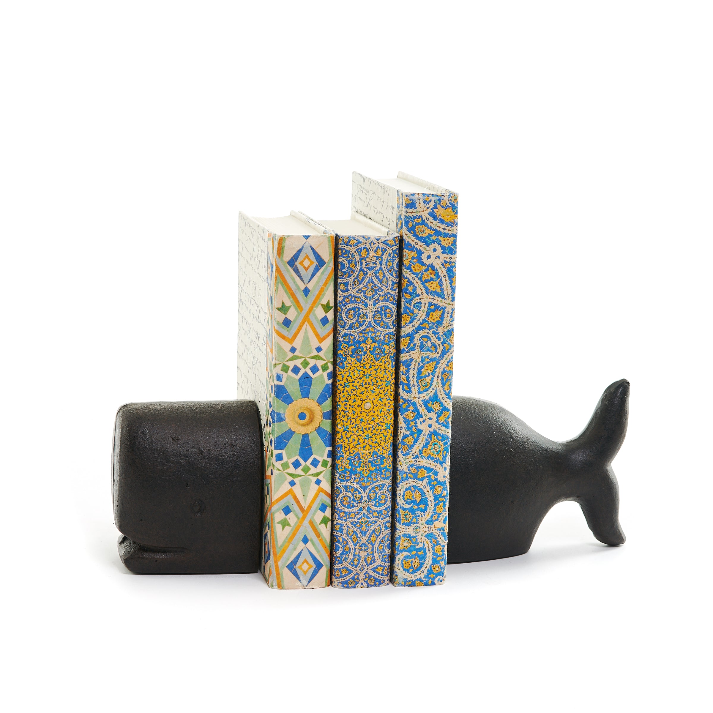 Black Whale Bookends Set