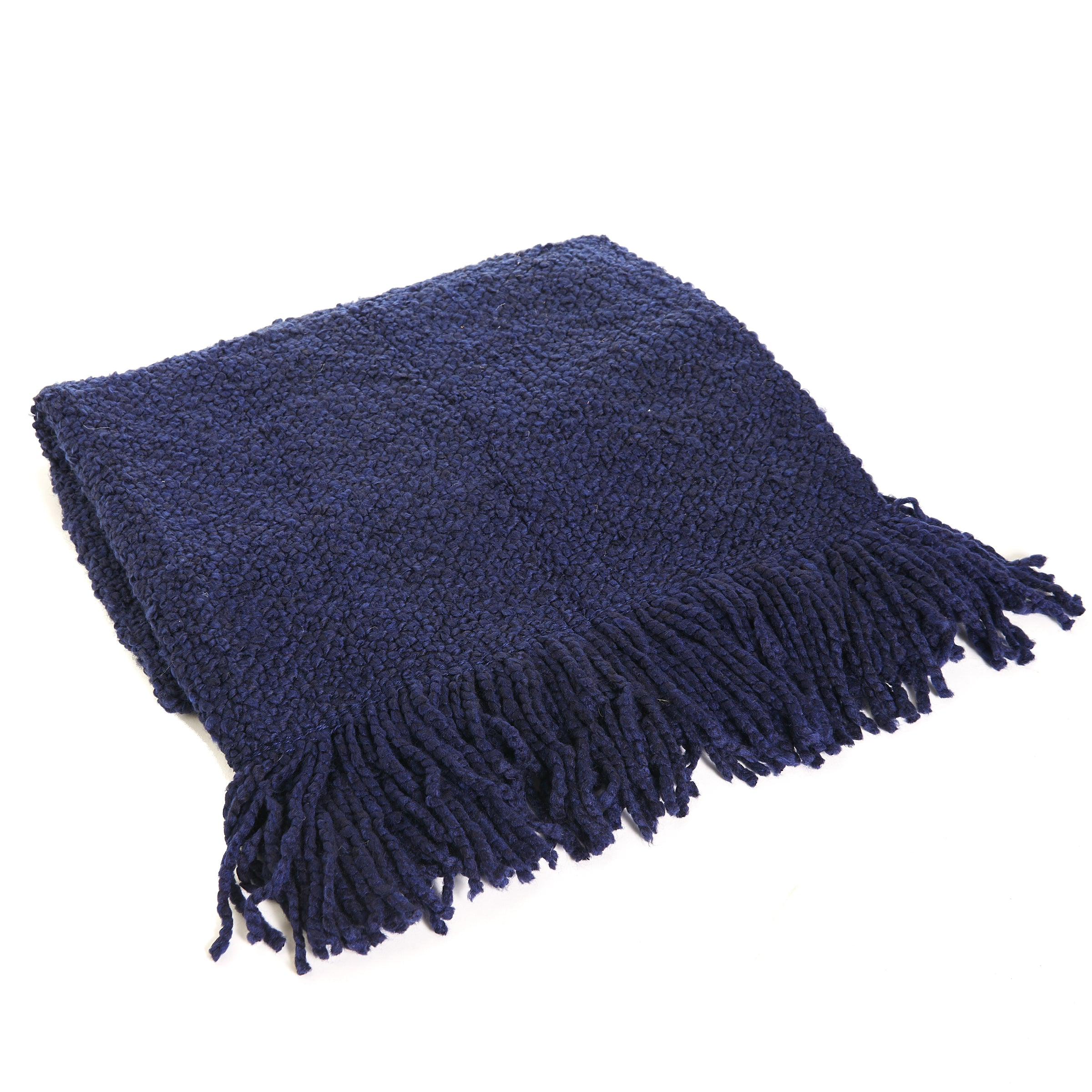 Hand Knit Navy Throw