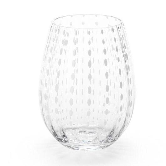 White Dots Stemless Glass