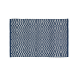 Diamond Navy and White Rug