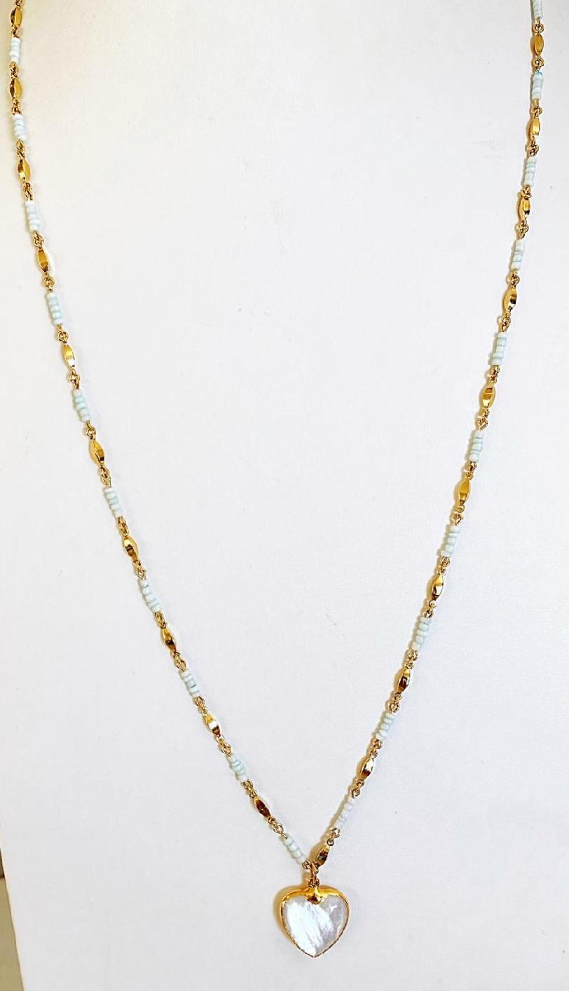 Avalon Beaded Chain with Mother of Pearl Heart