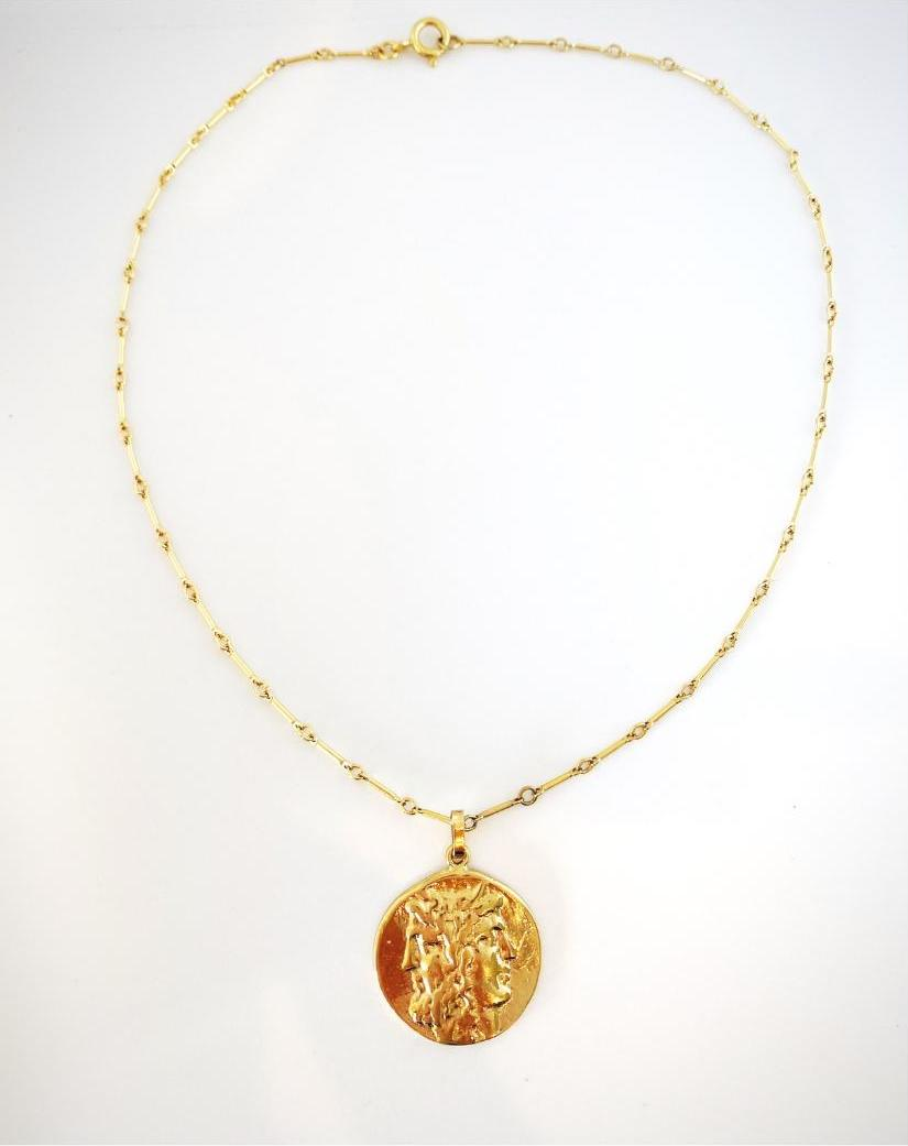 Gold Greek Coin Necklace