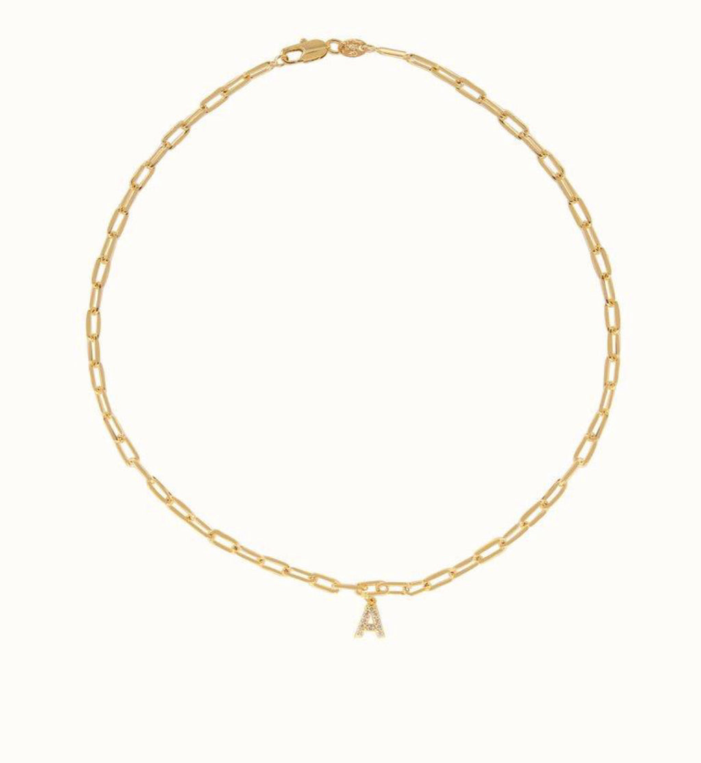 Link Diamond Initial Necklace