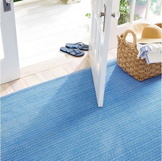 Herringbone French Blue and White Rug