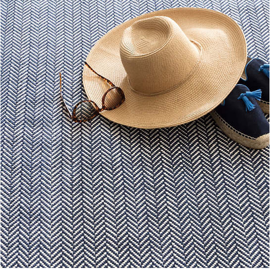 Herringbone Navy and White Rug