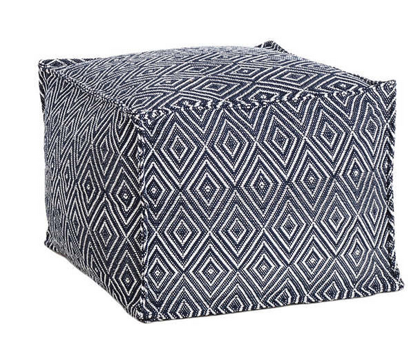 Diamond Navy and White Pouf