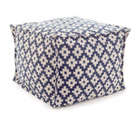Samode Navy and White Pouf