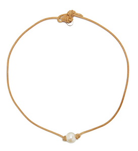 Victoria Single White Pearl Necklace on Light Brown Leather