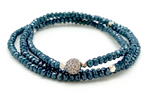 Petra Triple Wrap Bracelet with Teal Crystals