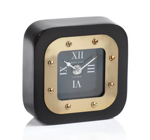 Square Clock in Black and Gold