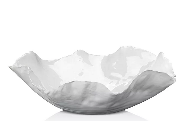 White Ceramic Raw Edge Bowl