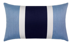 Nevis Blue Striped Lumbar Outdoor Pillow