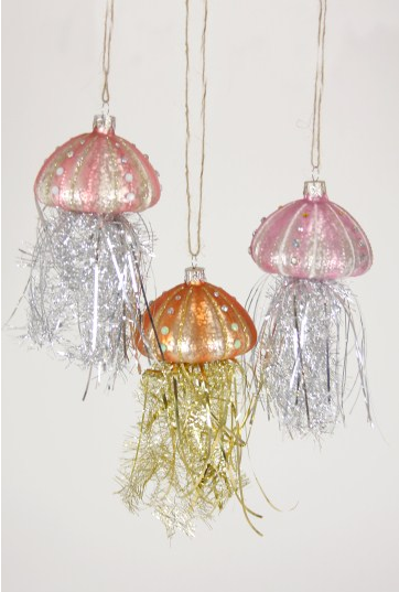 Glass Jellyfish with Tinsel