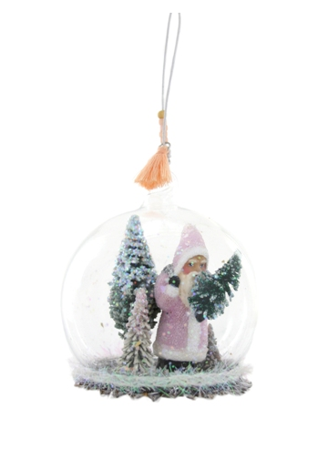 Glass Orb with a Pink St. Nick