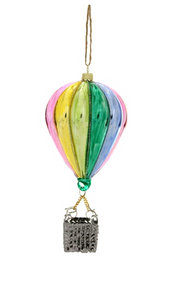Colorful Hot Air Ballon Glass Ornament
