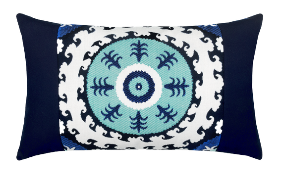 Suzani Midnight Outdoor Lumbar Pillow