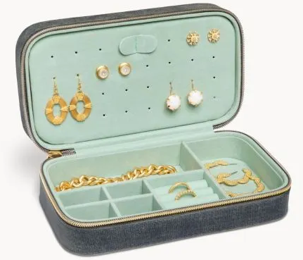 Grey Velvet Jewlery Case