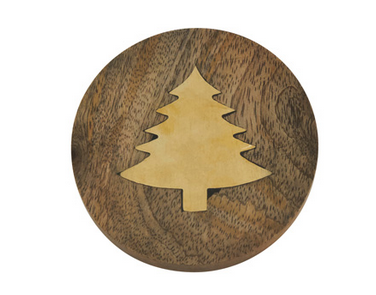Wood Coaster with Brass Tree Inlay