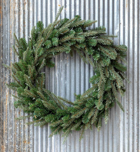 Faux Pine Wreath with LED Lights