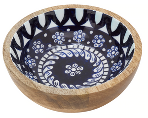Tile Enamel Mango Wood Bowl