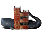 Whale Bookends in Black Resin