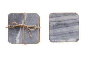 Grey Marble Coaster with Brass Edge