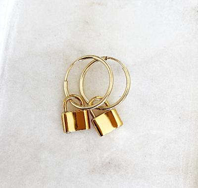 Small Gold Hoop Earrings with Locket
